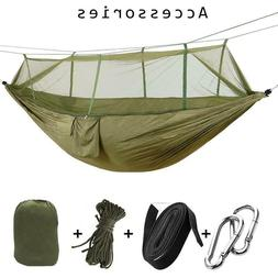 1-2 Person Camping Hammock with Mosquito Net Rain Cover Tent