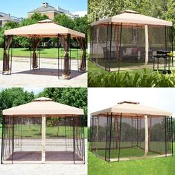 10 X 10 Ft 2 Tier Vented Metal Gazebo Canopy With Mosquito N