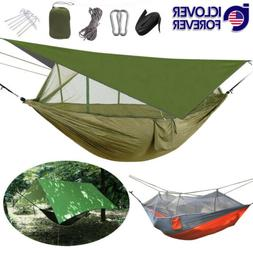 2 Person Camping Hammock Tent Mosquito Net+Waterproof Rainfl