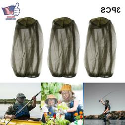 3PCS Anti-Mosquito Bug Bee Insect Head Net Hat Cap Sun Prote