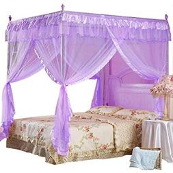 4 Corner Post Bed Canopy Mosquito Net Twin Polyester Fabric