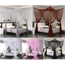 4 Corner Post Elegant Mosquito Net Curtain Bed Canopy Outdoo