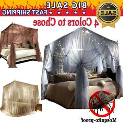 4 Corner Princess Style Post Bed Canopy Mosquito Netting wit