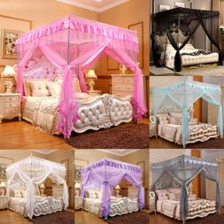 4 Corners Post Bed Canopy Curtain Mosquito Net Or Frame Twin