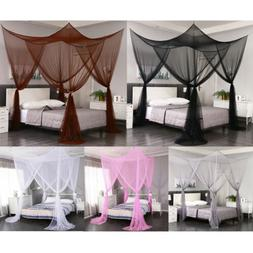 4 Corners Post Mosquito Net Curtain Bed Canopy for Twin Full