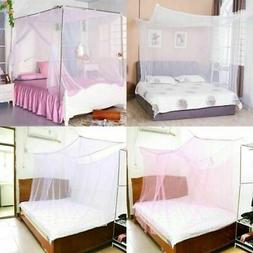 4 Post Square Bed Canopy Mosquito Net Netting Full Queen Kin