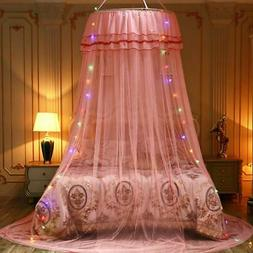 5Colors Princess LED Dome Lace Mosquito Net Bed Canopy Netti