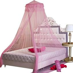Housweety Pink New Round Lace Curtain Dome Bed Canopy Nettin