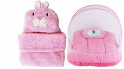 Baby Velvet Mosquito Net Bed and Ac Blanket Wrapper, Pink
