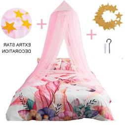 Bed Canopy Curtains Mosquito Net Stars for Girls Kids Adults