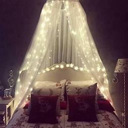 Bed Canopy For Girls With 100 LED String Lights Fits Twin Fu