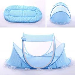 Blue Foldable Infant Baby Mosquito Net Travel Cot Tent Cradl