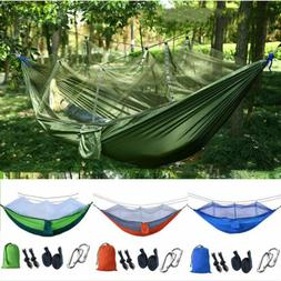 Camping Double Hammock with Mosquito Net Hanging Bed Swing C