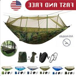 Camping Double Hammock with Mosquito Net Tent Hanging Bed Sw