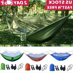 camping double hammock with mosquito net tent