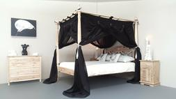CANOPY DELUXE Muslin Mosquito Net for Four Poster Bed BLACK