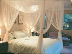 Canopy Mosquito Net for Queen or King Size Bed 4 Corners Whi
