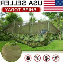 Double Camping Hammock with Mosquito Net Hanging Bed Swing C