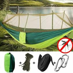 Double Camping Hammock with Mosquito Net Nylon Hanging Bed S