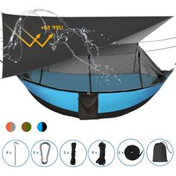 Double Camping Hammock with Removable Mosquito Net and Rainf
