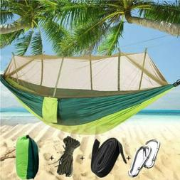 Double Hammock with Mosquito Net Nylon Hanging Bed Swing Cha