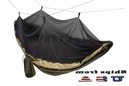 Double Outdoor Parachute Nylon Hammock with Mosquito Net - L