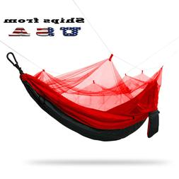 Double Outdoor Parachute Nylon Hammock with Mosquito Net Red