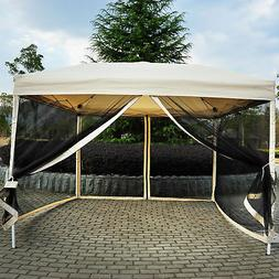 Outsunny 10' x 10' Easy Pop Up Canopy Tent w/ Mesh Side Wall