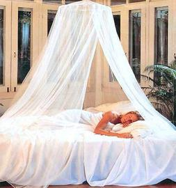 DREAMMA Elegant White Round Bed Canopy Net Mosquito Repeller