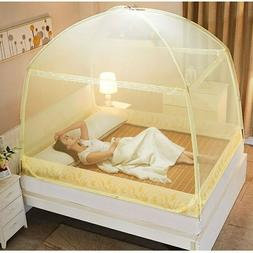 Folding Mosquito Net For Home Yellow Pink Mesh Double Bed Ne