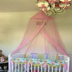 GORGEOUS  PINK MOSQUITO NET CUTE TRIM FOR COTS/SINGLE POLY/C