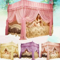 Home Queen 4 Corner Bed Canopy Thicken Encryption Mosquito N