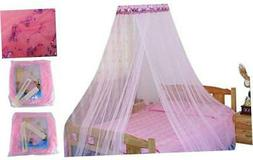 HOUSWEETY New Round Sequins Curtain Dome Bed Canopy Netting