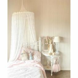 Jeteven Lace Bed Canopy Mosquito Netting Bed White