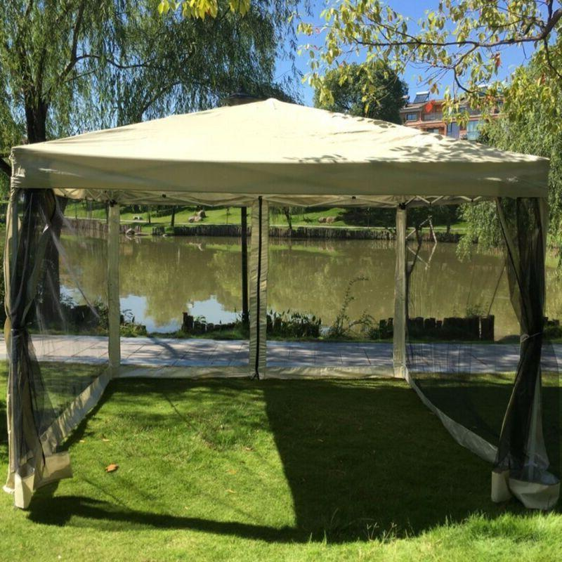 Outdoor Gazebo Canopy 10'x10' Pop Up Party Tent Mesh Mosquit