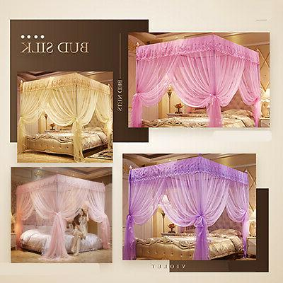 US 4 Mosquito Curtains Bed Canopy Lace Princess