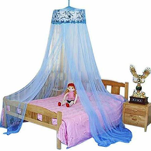 blue new round sequins curtain dome bed