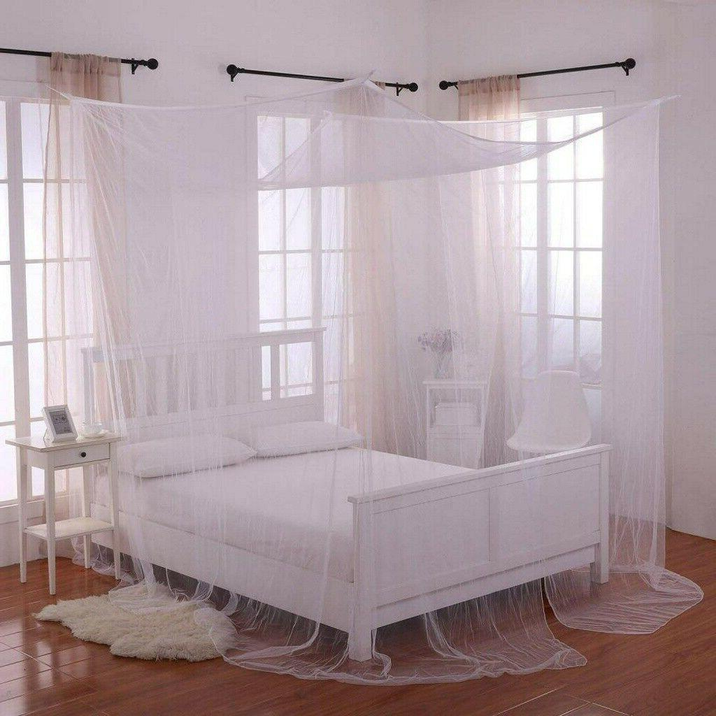 Classical Post Bed Canopy Queen White/Black