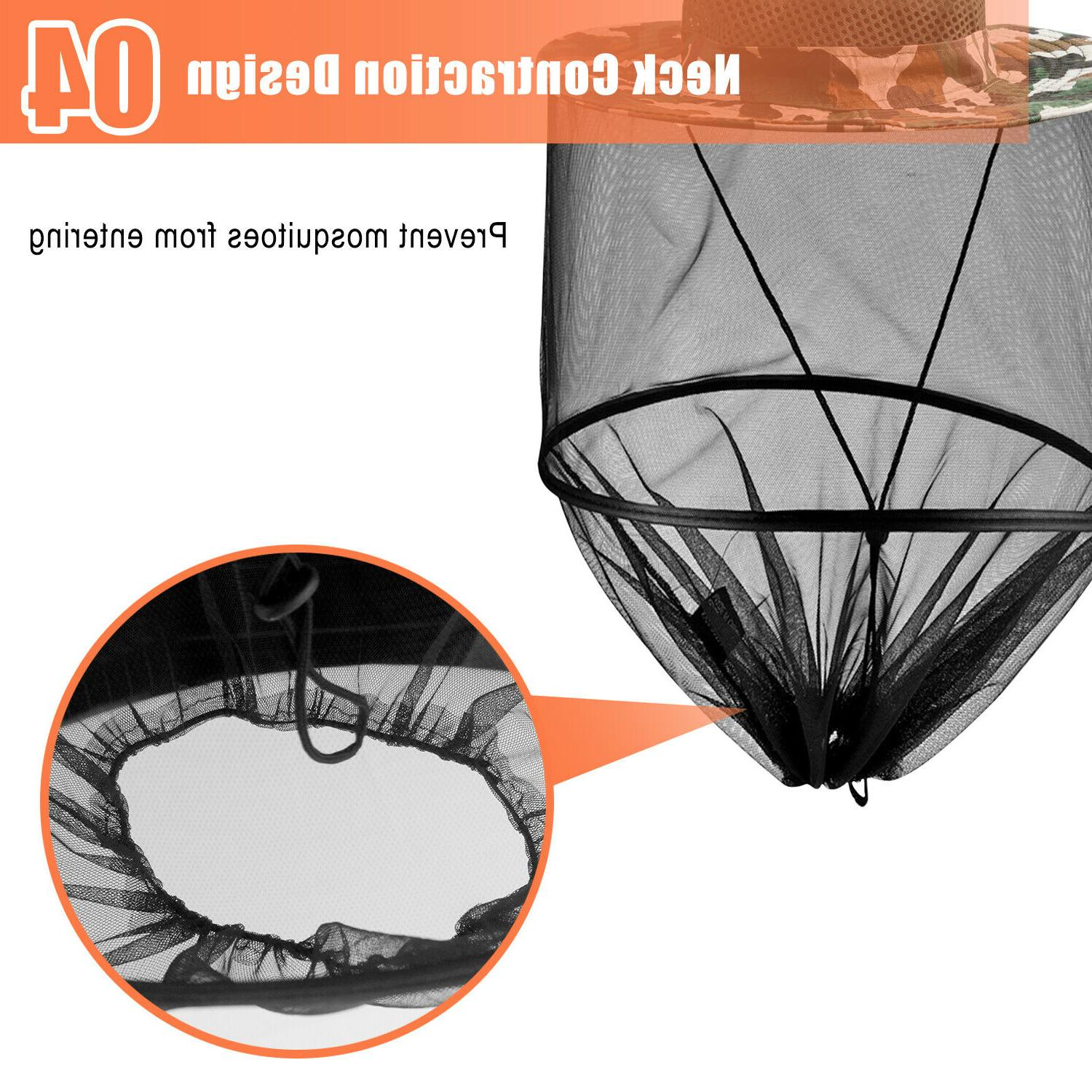 Fishing Insect Net Face Sun UV Cap