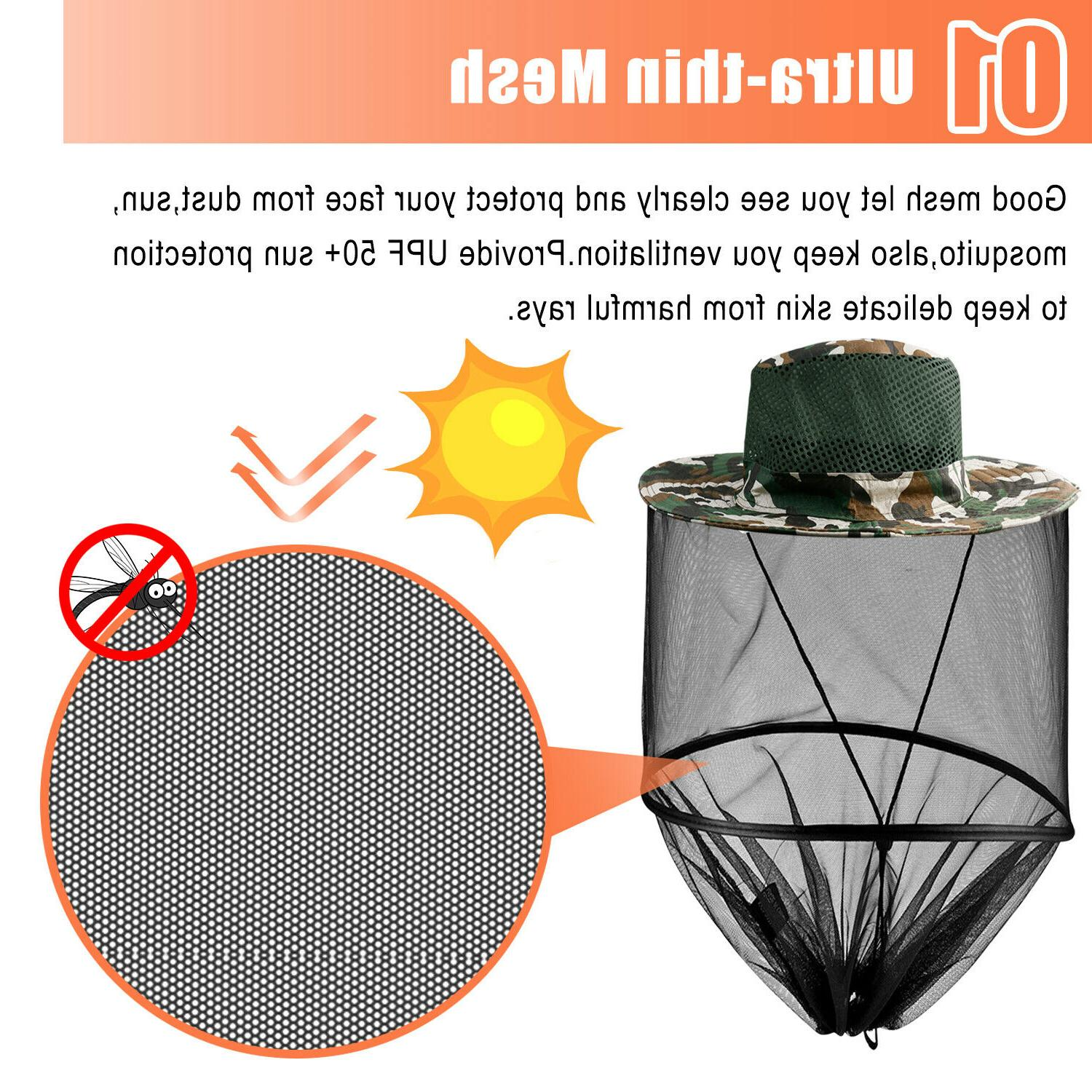Fishing Insect Head Mesh Face Sun Protection Cap