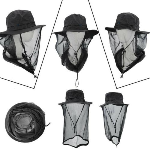 Outdoor Mosquito Net Hat Mesh Mask Protection Cap Camping