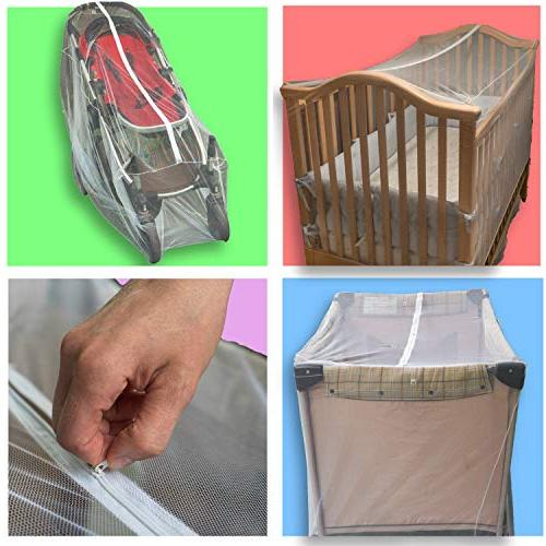 Pack Net Fits Crib, Stroller and Playpen Size Durable Netting Complete Storage Bonus
