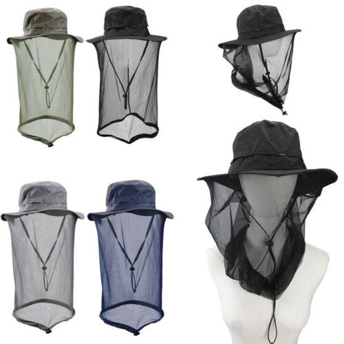 Outdoor Mosquito Head Net Hat Mesh Face Mask Camping