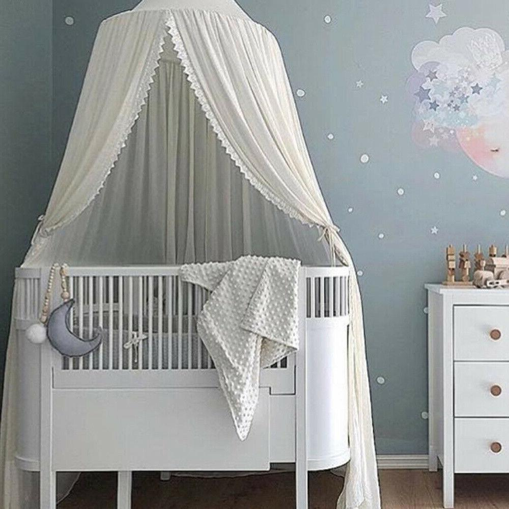 Baby Girl Boys Chiffon+Lace Round Dome Mosquito Net Bed Crib
