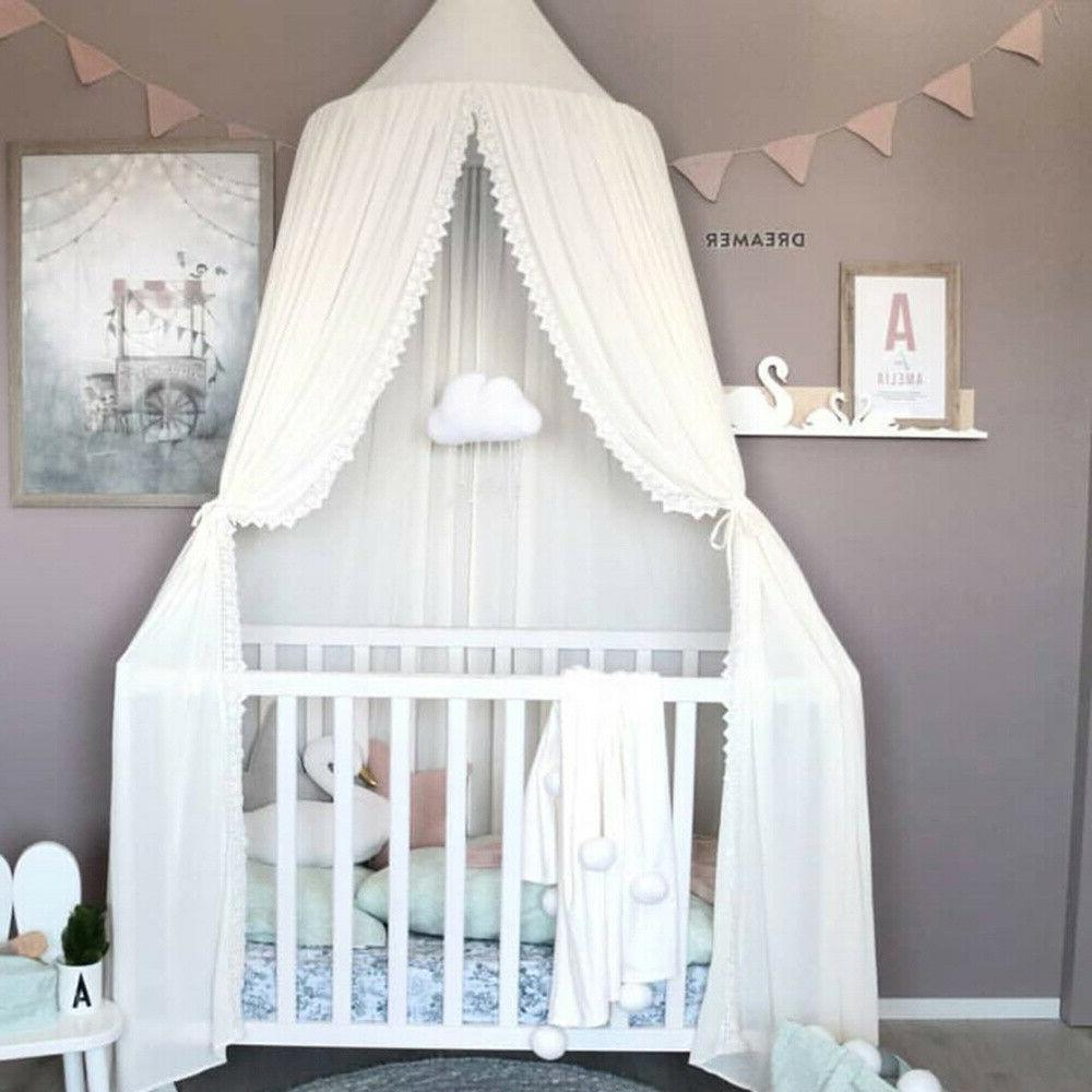 Baby Boys Chiffon+Lace Round Dome Mosquito Bed Crib Canopy Netting Tent