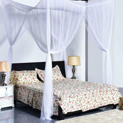 4 corner post white bed canopy mosquito