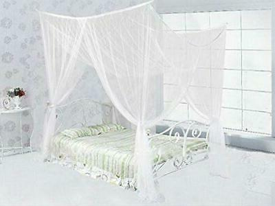 white concise 4 corners post bed canopy