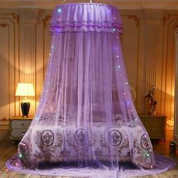Solid Mosquito Net Princess Girl Canopy Bed Lace Mesh Hangin