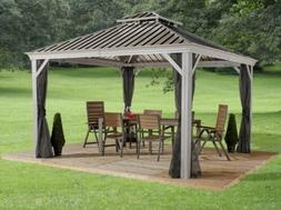 Sojag Messina 12X12 Steel Roof Sun Shelter With Netting, NEW