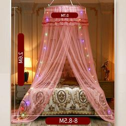 Mosquito Net Bedding Lace LED Light Princess Dome Mesh Bed C